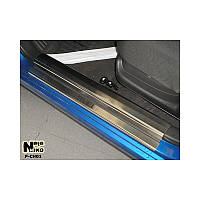 Накладки на пороги Chevrolet Aveo (шевроле авео) (02-12) НатаНико, 6шт. Premium