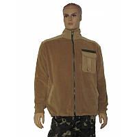 Куртка флисовая, цвет койот с однотонными вставками