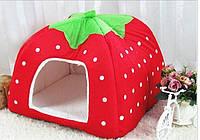 Домик для домашнего любимца, место для собаки или кошки, форма - клубника, цвет - красный