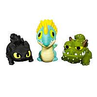Набор из трех драконов Беззубик Сарделька Громгильда  Как приручить дракона Spin Master Dragons