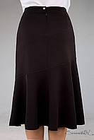 Черная деловая расклешенная юбка | Большие размеры (52-58 р.)