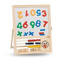Деревянная обучающая Доска с часами и счетами MD 0040 Woody
