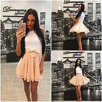 Красивое и нежное платье с гипюровым верхом и шифоновой юбкой e-31031453