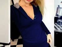 Кофта женская Худи синяя , интернет магазин одежды