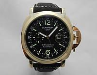 Мужские часы Panerai Luminor GMT Automatic - золотистые с черным