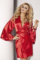 Короткий атласный женский халатик с длинным рукавом