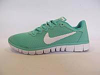 Кроссовки подростковые Nike Free Run сетка, мятные (найк фри ран)р.40
