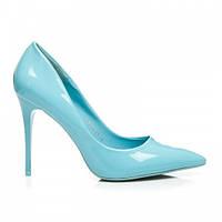 Женские лакированные туфли-лодочки голубые
