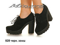 Женские молодежные замшевые черные туфли на каблуке 8 см (размеры 36-41)
