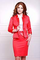 Пиджак женский с кожаными вставками красного цвета р.S,М,L,XL
