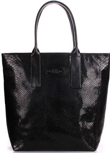 Кожаная элегантная женская сумка украинского производителя POOLPARTY adore-snake-black