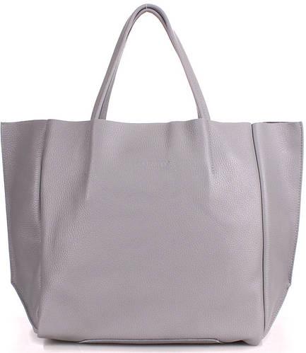Женская вместительная из натуральной кожи сумка POOLPARTY soho-grey