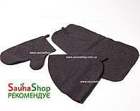 Набор для бани шапка, рукавица, подстилка из овчины