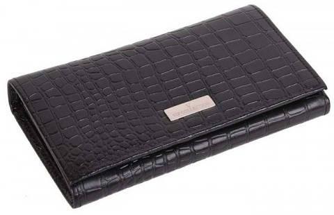 Восхитительный женский кошелек Vip Collection 196A croc черный
