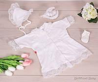 """Крестильный набор """"Анна"""" для девочки (рубашка, чепчик, носочки)"""