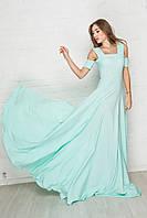 2177 Вечернее шелковое платье в пол голубого цвета