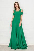 2177 Вечернее шелковое платье в пол изумрудного цвета