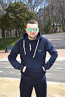 Мужская трикотажная толстовка с капюшоном (трехнитка)    Синяя