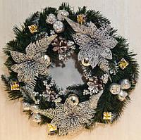 Венок новогодний большой  украшенный серебро 0423 S