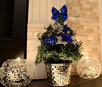 Елка  искусственная  маленькая украшенная  Серебро синяя  20 cm  0424 SB
