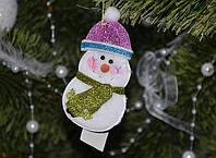 """Новогодние украшения """"Снеговик розовая шапка и черная шляпа"""" 0510"""
