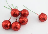 Декоративные ягоды на проволоке, цвет красный, 10 шт.