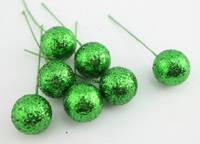 Декоративные ягоды на проволоке, цвет зеленый, 10 шт.