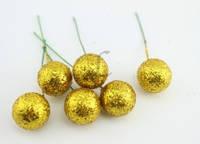 Декоративные ягоды на проволоке, цвет желтый, 10 шт.