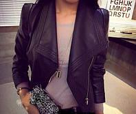 Модная женская куртка с эко кожи на подкладке