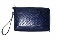 Универсальная сумка-клатч из кожи  питона синяя