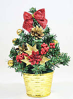 Елка  искусственная  маленькая украшенная Золотая c красным  20 cm  0424RG