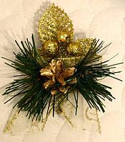 Бутоньерка новогодняя украшенная золотом 0539 G