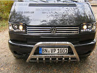Накладка на решетку Volkswagen Т4 (фольксваген т5), ПРЯМЫЕ ФАРЫ 8 шт. широкие полоски, нерж.