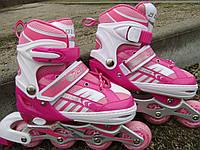 Ролики раздвижные с переставными колесами, полиуретановые мягкие (силиконовые), розовые, 31 - 34 р.