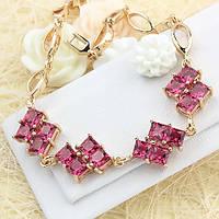005-0469 - Очаровательный позолоченный браслет с рубиновыми фианитами, 17.5-19.5 см