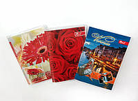 Записная книжка А6 64л. обложка ПВХ глянцевая, цветная, блок офсет импортный. 60г/м2, клетка  микс