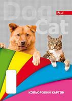 Цветной картон А4, 8 цветов, полноцветная обложка, меловка