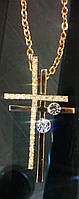 """Цепочка на шею два креста """"под золото с камнем"""""""