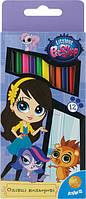 Карандаши цветные трехгранные Pet Shop, 12 цветов
