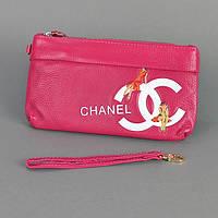 Клатч - кошелек женский натуральная кожа фуксия Chanel 1883