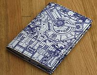 Оригинальная обложка для паспорта с эко-кожи + блокнот BlankNote BN-OP-KZ-27 синий