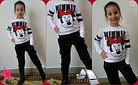 """Детский трикотажный спортивный костюм для девочки """"Minnie Mickey"""" с принтом и карманами (3 цвета)"""