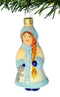 Елочная игрушка  «Снегурочка с зайкой» Стекло