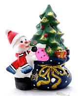 Подсвечник керамический со свечей Снеговик с Елкой