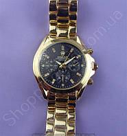 Часы Rolex 113837 женские золотистые с черным циферблатом на металлическом браслете