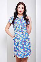 Платье-рубашка Диззи свободного покроя джинсовое, воротник стойка, цветочный принт, 42-46 размеры