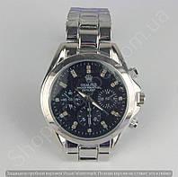 Часы Rolex 113838 женские серебристые с черным циферблатом на металлическом браслете