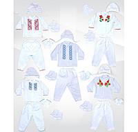 Комплект крестильный с вышивкой. 5 предметов, 100 % хлопок, начес, р.р.18-26