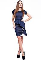 Платье Облегающее с Необычной Баской и Воланом По Юбке Темно-Синее р. S-ХL