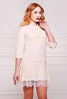 Прямое платье с заниженной талией и кружевом по низу, юбка с широкими складками по бокам, 42-46 размеры